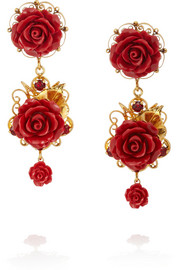 Dolce & Gabbana Gold-plated, crystal and resin clip earrings