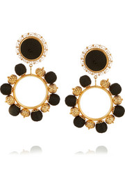 Gold-plated and satin clip earrings