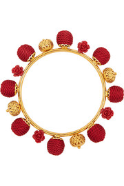 Gold-plated, resin and woven bangle