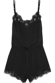 Lace-trimmed stretch-silk playsuit