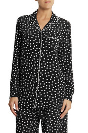 Polka-dot silk crepe de chine pajama top