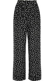 Polka-dot silk crepe de chine pajama pants