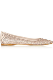Glitter-finished leather ballet flats