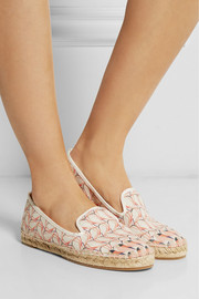 Printed leather-paneled canvas espadrilles
