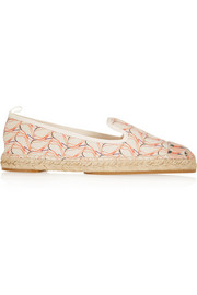 Fendi Printed leather-paneled canvas espadrilles