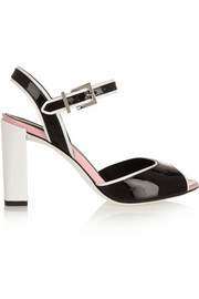 Color-block patent-leather sandals