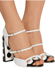 Cutout two-tone leather sandals