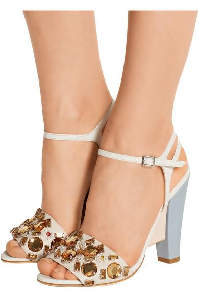 ad0dd425974e66 Crystal-embellished color-block leather sandals
