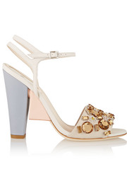 Crystal-embellished color-block leather sandals