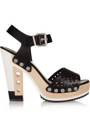 Fendi Perforated leather platform sandals