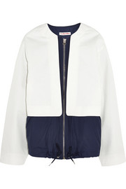 Shell-paneled cotton-twill jacket