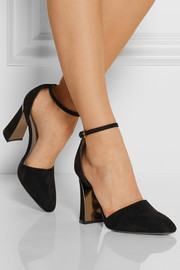 Metal-trimmed suede Mary Jane pumps