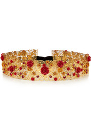Swarovski crystal-embellished gold-plated waist belt