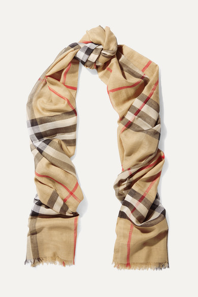 burberry female burberry checked wool and silkblend scarf camel