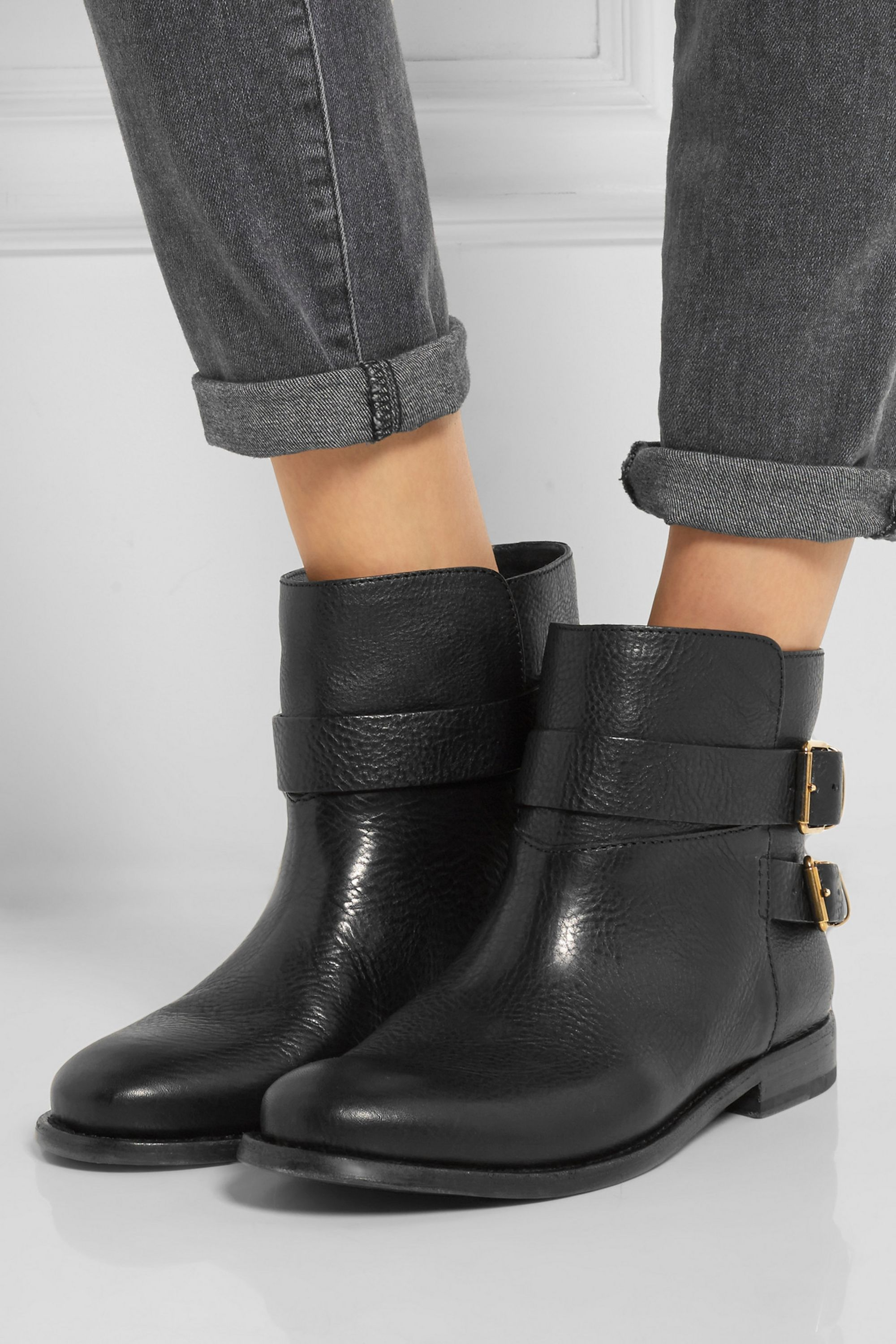 Burberry Buckled leather ankle boots