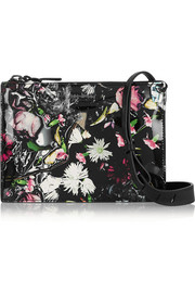Festive Floral printed patent-leather shoulder bag