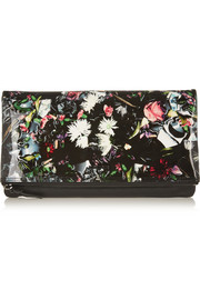 Floral-print patent and textured-leather clutch