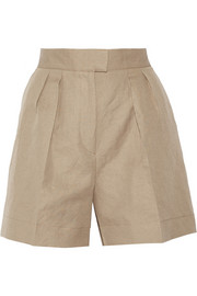 Bottega Veneta Pleated cotton and linen-blend shorts