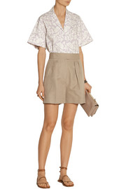 Pleated cotton and linen-blend shorts