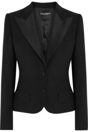 Faille-trimmed wool-blend jacket