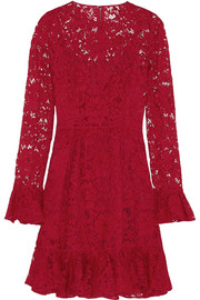 Ruffled cotton-blend lace mini dress