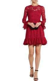 Dolce & Gabbana Ruffled cotton-blend lace mini dress