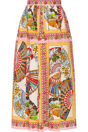 Dolce & Gabbana Printed cotton midi skirt