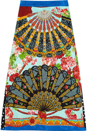 Printed brocade midi skirt