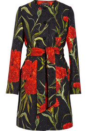 Printed floral-brocade coat