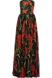 Printed floral-brocade and chiffon gown