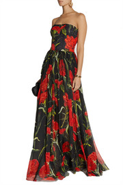Dolce & Gabbana Printed floral-brocade and chiffon gown