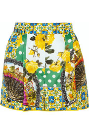 Printed silk-satin shorts
