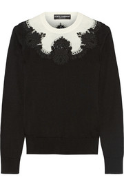 Dolce & Gabbana Lace-paneled silk sweater