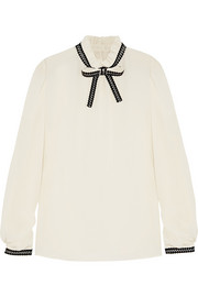 Dolce & Gabbana Embroidered silk-blend crepe blouse