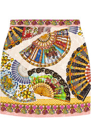 Printed matelassé mini skirt