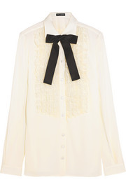 Ruffled lace-paneled silk-blend shirt