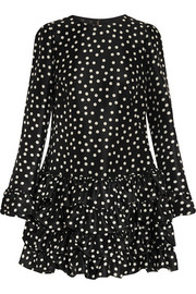Polka-dot ruffled silk mini dress