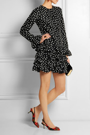 Dolce & Gabbana Polka-dot ruffled silk mini dress