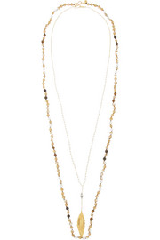 Chan Luu Set of two gold-plated multi-stone necklaces