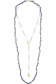 Chan Luu Set of two gold-plated, lapis lazuli and Swarovski crystal necklaces
