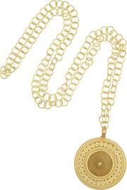 Finds + Joyas Fio gold-plated filigree coin necklace