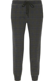 The Vintage plaid cotton-jersey track pants