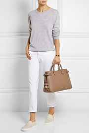 Medium textured-leather and checked canvas tote