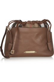 Burberry Shoes & Accessories Textured-leather and checked canvas shoulder bag