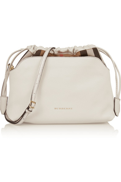 Burberry Textured Leather And Checked Canvas Shoulder