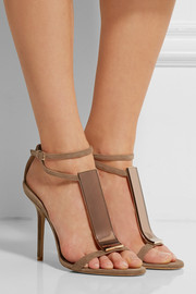 Burberry Prorsum Acrylic-paneled suede sandals