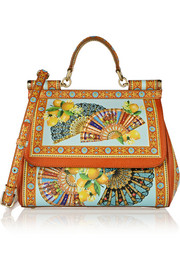 Dolce & Gabbana Sicily printed textured-leather tote
