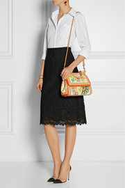 Sicily printed textured-leather tote