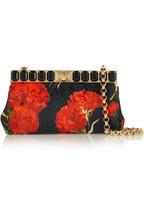 Embellished floral-brocade shoulder bag
