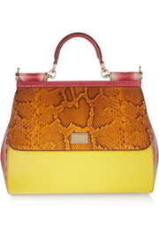 Sicily large textured-leather, lizard, ayers and python tote